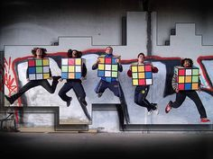 5 Rubik's cubes jumping