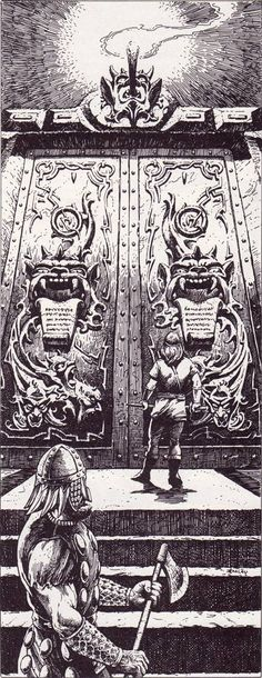 oldschoolfrp: The Great Iron Doors guarding Iggwilv's treasure at the center of the Lost Caverns of Tsojcanth. (Jeff Easley from AD&D module S4, TSR, 1982.)