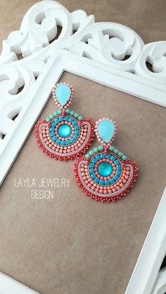Paper Earrings, Beaded Tassel Earrings, Soutache Earrings, Diy Earrings, Crochet Earrings, Bead Embroidery Jewelry, Beaded Embroidery, Diy Jewelry, Handmade Jewelry