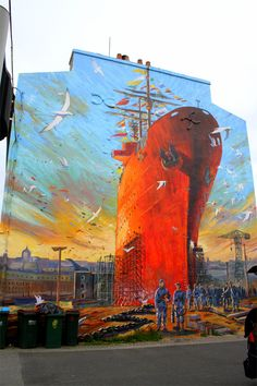 Street Art in France. A mural of a massive scale, this ship looks like it is going places once they finish buidling it.
