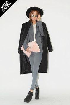STYLENANDA EN - sleek fox in Simple Colored Single-Breast Slim Long Coat