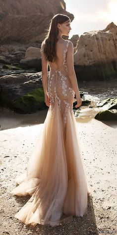 nurit hen 2016 sleeveless vneck fit flare sheath wedding dress / http://www.himisspuff.com/open-back-wedding-dresses/6/