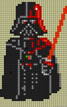 Star Wars Darth Vader perler bead pattern can be adapted for x-stitch or crochet, etc Hama Beads Patterns, Loom Patterns, Beading Patterns, Quilt Patterns, Star Wars Crochet, Crochet Stars, Cross Stitching, Cross Stitch Embroidery, Cross Stitch Patterns