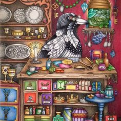 Left side of the double page spread 'Pica the Magpie in his Treasure House' from the gorgeous new Ivy and the Inky Butterfly finished! Will do the right side another time ✍️. Definitely the most challenging colouring I've done so far. Pushed myself way out of my comfort zone colouring so much detail - used lots of reference photos . Thank you to the wonderfully kind @cherrycolours for saying exactly the right things to help me boost my confidence at the start when I was worried I'd .