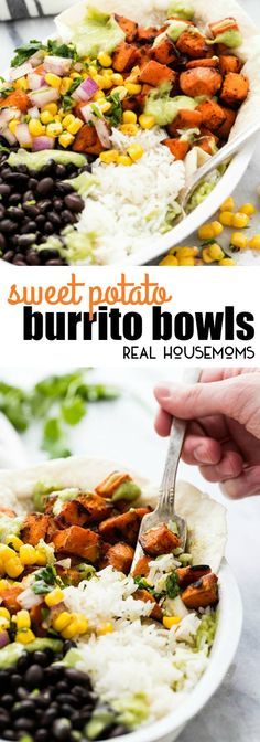 Easy and healthy sweet potato burrito bowls are full of fresh veggies and bold Tex-Mex flavors the whole family will love! via @realhousemoms