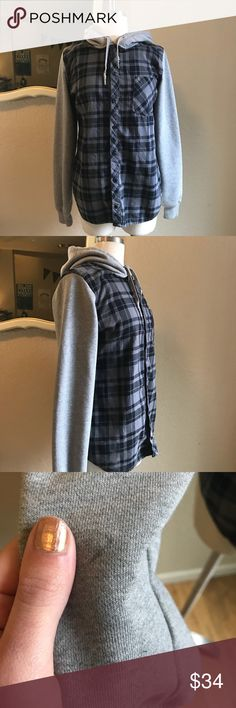 """Nike athletic dept. hooded flannel Cute casual flannel with sweatshirt sleeves and hood. One pen mark on inside of sleeve, might wash out. Great for everyday wear and layering. 25"""" long from highest point of shoulder, 19.5"""" across from pit to pit. 15"""" across from shoulder seam to shoulder seam. All measurements are approximate and taken from front while laying flat. Feel free to make an offer! Nike Tops Sweatshirts & Hoodies"""