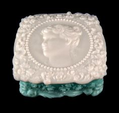 Milk Glass w / Color . Vintage Fostoria Jenny Lind Handkerchief Hanky Box Aqua and Milk Glass