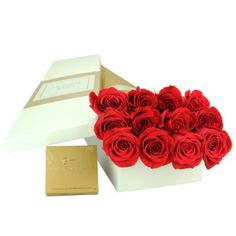 Order a dozen roses only online for a Sydney metro delivery, and Flowers for Everyone will add free chocolates to your gift. Select this special rose and chocolate offer and our florist team will arrange twelve, luscious red long-stemmed Columbian roses amongst folds of soft tissue, and elegantly display them inside a signature Flowers for Everyone gift box.