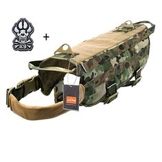 Ultrafun Tactical Dog Molle Vest Military Training Harness with Handle Outdoor Pet Supplies (Camo XL)