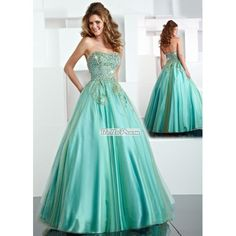 A-line Strapless Beaded Applique Tulle and Satin Prom Dress PD33886 at belloprom.com