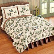 Woodland Birds and Pine Cones Quilted Bedspread - 35623