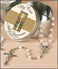 First Communion Rosary in Tin - Girl