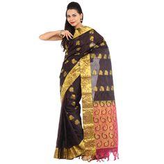 Buy Sudarshan Silks Brown Silk Saree by Sudarshan Silks, on Paytm, Price: Rs.4099?utm_medium=pintrest
