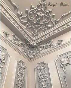 Gypsum Ceiling Design, Interior Ceiling Design, Bedroom False Ceiling Design, Luxury Interior Design, Classic Ceiling, Minimalist Room, Wall Molding, Victorian Design, Classic Interior