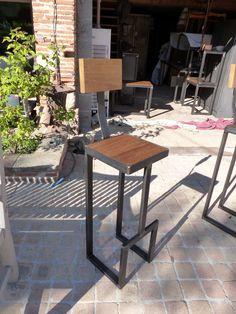 chaise haute industrielle sur mesure bois mètal
