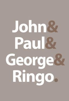 Beatles -Fab Four Names Gray Music Poster - 13x19 $4.80 #beatles #simple #design #poster