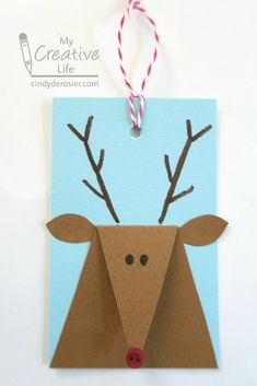 Cindy deRosier: My Creative Life: Reindeer Gift Tags Christmas Card Crafts, Preschool Christmas, Christmas Activities, Kids Christmas, Christmas Decorations, Christmas Presents, Christmas Cards Handmade Kids, Christmas Tables, Nordic Christmas