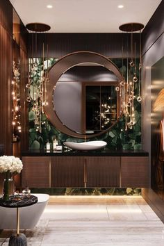 This bathroom by @studia_54 is to die for! Wouldn't you love to get ready in this beautiful room in the morning?  Swipe right to see how you can get a similar look with our KAYAN Mirror! Click on the picture to get this product! Home Room Design, Dream Home Design, Home Interior Design, Interior Ideas, Bathroom Design Luxury, Bathroom Mirror Design, Bathroom Designs, Modern Mirror Design, Modern Luxury Bathroom