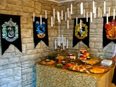 Harry Potter Party Theme - Dining hall with floating candles
