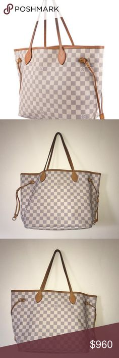 "Louis Vuitton Damier Azur Neverfull MM Creme and blue Damier Azur coated canvas Louis Vuitton Neverfull MM with brass hardware, tan vachetta leather trim, dual flat shoulder straps, dual drawstring closures at sides, beige and creme striped canvas lining, single pocket at interior wall with zip closure and clasp closure at top. The slim leather handles fit over the shoulder or on the arm.     Shoulder Strap Drop: 8.5"" Height: 11"" Width: 19"" Depth: 6""  Great Condition, only used 5 times…"