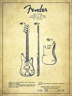 Fender Poster featuring the drawing Bass Guitar Patent Drawing From 1960 by Aged…