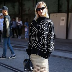 At Day Two of #MBFWA, graphic prints defined picture-perfect #streetstyle.