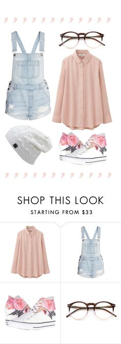 """lookin' for love"" by i-dont-believe-in-humans ❤ liked on Polyvore featuring Uniqlo, H&M, Converse and Wildfox"