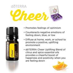A part of the NEW doTERRA Emotional Aromatherapy Kit, Cheer is also known as the Uplifting Blend. Cheer is a blend of citrus and spice essential oils. Its sunshiny, fresh, optimistic aroma will brighten any moment of your day.  Learn more about Cheer on our latest blog post. Link in bio!  The Emotional Aromatherapy Kit will be available to purchase on October 1st. Individual oils will go on sale around December 1st. #doterra #essentialoils #cheer #uplifting