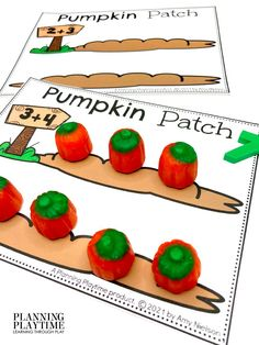 Count & Add the Number of Pumpkins in the Patch!! -Fall Kindergarten Morning Tubs Preschool Letters, Preschool Printables, Kindergarten Age, Kindergarten Activities, Halloween Patterns, Autumn Activities, Play To Learn, Business For Kids, Tubs