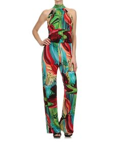 Look at this Karen T. Design Red & Green Abstract Yoke Jumpsuit - Women on #zulily today!
