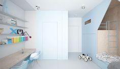 luminoso dormitorio del niño azul