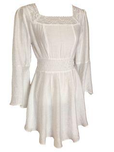 Ivory Gypsy Peasant Romantic Asymmetrical Summer Dress