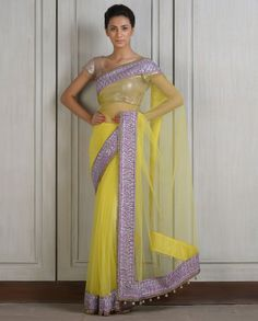 Yellow Sari with Lilac Kashmiri Embroidered Border- Buy Diffusion,Saris,New Arrivals,Sarees Online | manishmalhotra.in