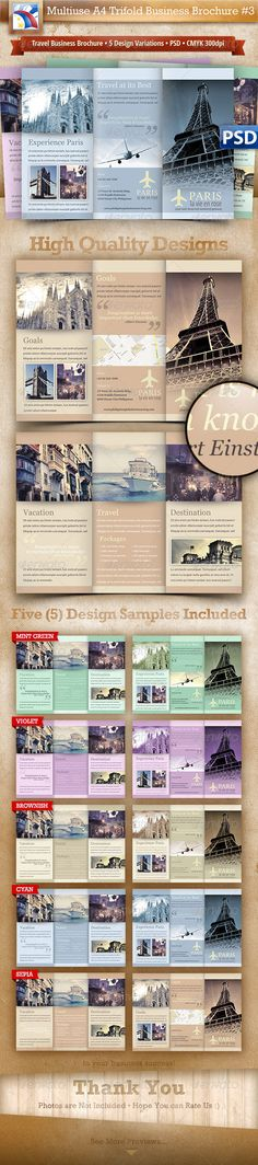 Business Travel A4 Trifold Brochure 5 Variations#3  PSD Template • Download ➝ https://graphicriver.net/item/business-travel-a4-trifold-brochure-5-variations3/2917025?ref=pxcr