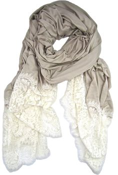 Lace trimmed scarf. Expensive at this website but it would be easy to make something similar