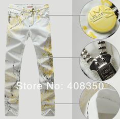 58.92$  Buy now - http://alidvn.shopchina.info/go.php?t=1783701608 - Men's Fashion Yellow Print White Skinny Jeans, 2017 New Cool Slim Straight Designer Jeans, Pockets Leisure Denim Pants Trousers  #SHOPPING