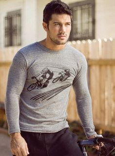 Mens Long Sleeve Shirt: Cycling track (S, M, L, XL)