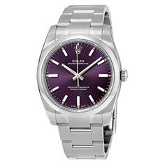 Rolex Oyster Prepetual Automatic Purple Grape Dial Stainless Steel Unisex Luxury Watch 114200RGSO -- See this great product.