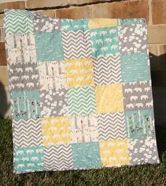 Organic Gender Neutral Quilt, Yellow Aqua Pool Teal Blue Grey, Deer Elephant Woodland Forest, Bunting Chevron, Boy or Girl, MADE TO ORDER