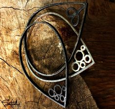 Stackable black and white oxidized silver sterling with geometric design , inspired from the nature