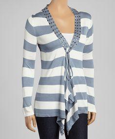 Blue & White Studded Stripe Cardigan