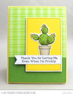 Prickly Card by Julie Dinn featuring the Laina Lamb Design Sweet Succulents stamp set and Die-namics, and the Stitched Rectangle STAX, Rectangle STAX Set 1, Stitched Fishtail Flag STAX, Blueprints 1, and Blueprints 2 Die-namics #mftstamps