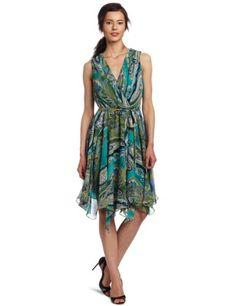 Evan Picone Women's Printed Hanky Hem Chiffon Dress $99.00