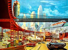 Dark Roasted Blend: Retro-Future: Glorious Urbanism Cyberpunk, Poster Shop, Comics Illustration, Illustrations Vintage, World Of Tomorrow, Tomorrow Today, Futuristic City, Vintage Space, Atomic Age