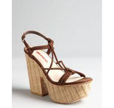 Prada Prada Sport brown leather and rafia platform sandals