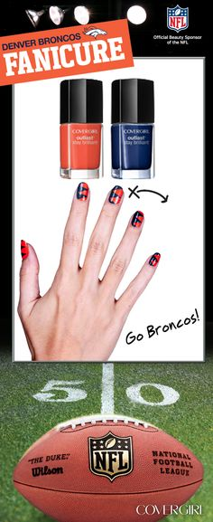 Go Broncos! I wonder if I can be this talented and make my nails look like this! Nail Manicure, Diy Nails, Cute Nails, Pretty Nails, Nail Polish, Mani Pedi, Sports Nail Art, Football Nail Art, Dolphin Nails