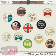 Who's Your Doctor? is a fun colorful kit that can be used to scrap many different layouts, but is especially suited for layouts about your favorite mad man in a box or any of your own collectibles or fun photos.  Flairs are so much fun and can add great character to your layouts. Spice up you layout with some of these flairs. There are 12 flairs (12 with the one recolored bowtie flair) included in this fun set.