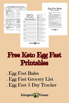 Fast Diet FAQ Frequently Asked Questions Free keto Egg Fast printable food tracker, rules and grocery list to help with your egg fast planning!Free keto Egg Fast printable food tracker, rules and grocery list to help with your egg fast planning! Keto Egg Fast, Keto Fat, Eggfast Recipes, Salad Recipes, Healthy Recipes, Egg Fast Rules, Keto Diet Side Effects, Egg And Grapefruit Diet, Keto Stuffed Peppers