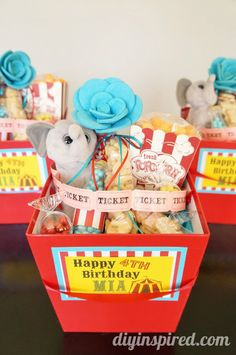 Circus Carnival Theme Party Favors - several ideas for individual party favors or one adorable gift basket