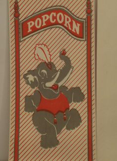 Vintage Popcorn Bag Circus Elephant Manley Inc by TinkersEphemera, $1.50